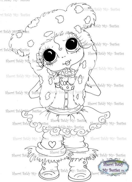 INSTANT DOWNLOAD Digi Stamps Big Eye Big Head Dolls by SherriBaldy, $3.00