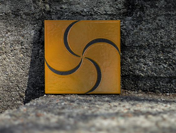 CALYPSO | Enamelled lava stone tile, inspired by the nymph Calypso. Production by Made a Mano