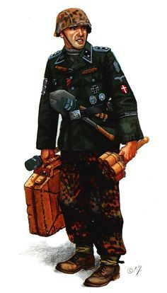 Hauptscharführer (Sergeant Major) Freiwilligen of the 11th SS Panzergrenadier Division 'Nordland', armed with the 'Gebalte Ladung' and gun Walter P.38. Berlin, 1945. Pin by Paolo Marzioli