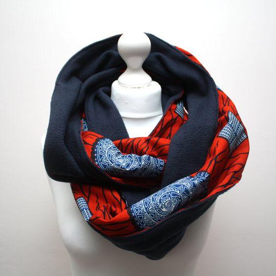 Ankara snood scarf Infinity scarf Circle scarf Hooded by Urbanknit