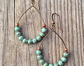 Turquoise Earrings, Copper Hoop Earrings