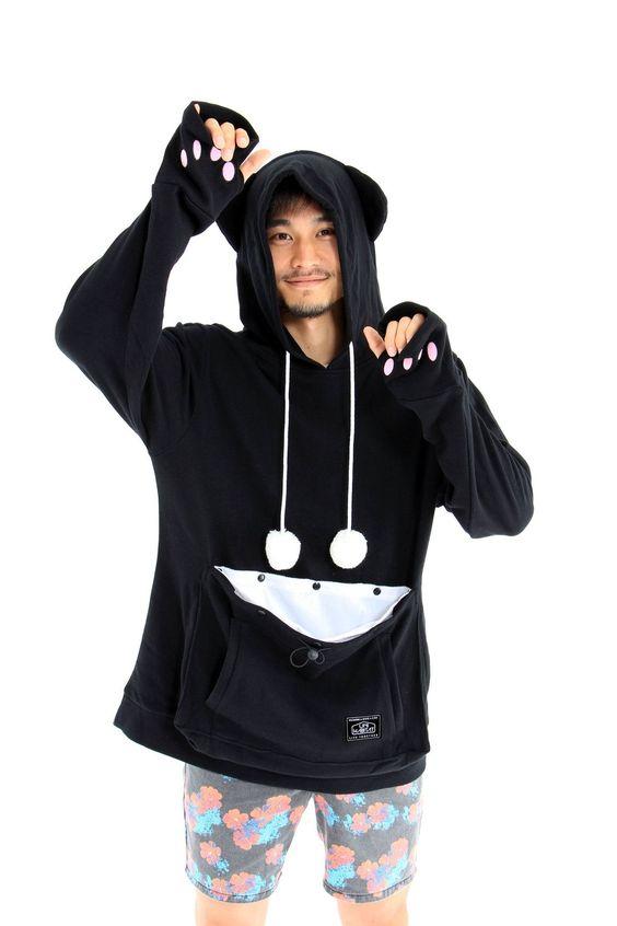 PRE-ORDER Mewgaroo Hoodie with Pet Pouch (Black)