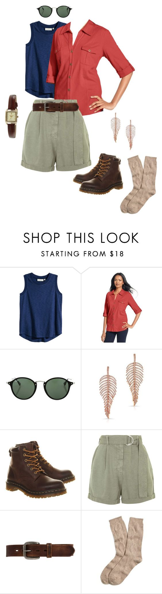 """""""Costume: Dr. Ellie Sattler"""" by rebeccalange ❤ liked on Polyvore featuring H&M, Style & Co., Ray-Ban, Dr. Martens, Topshop, Bed Stu, Brooks Brothers and Peugeot"""