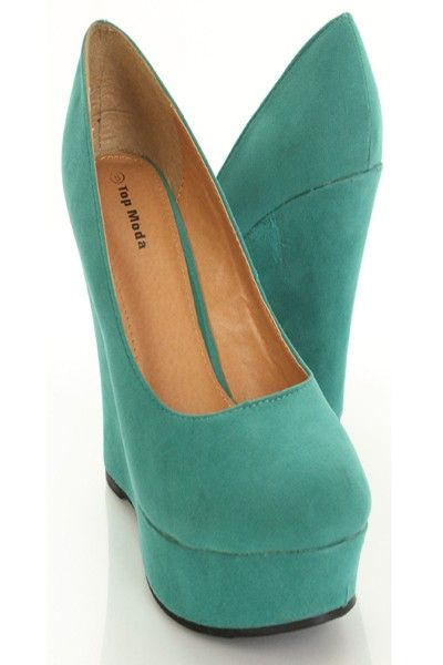 This is a very sexy wedges featuring faux suede, rounded closed toes, cushioned footbed, and finished with smooth soles.  Approximately 1 1/4 inch platform and 4 3/4 inch wedge heels.
