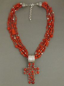 Sterling Silver Coral Cross Beaded Necklace - Adjustable Length by Southwest Silver Gallery