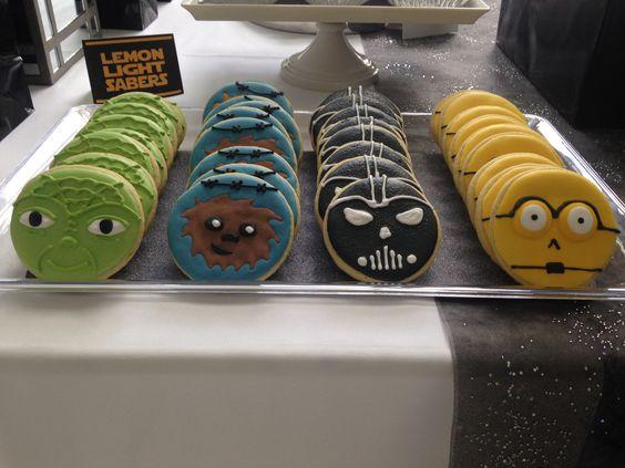 Star Wars cookies; C-3PO, Darth Vader, Ewok, Yoda