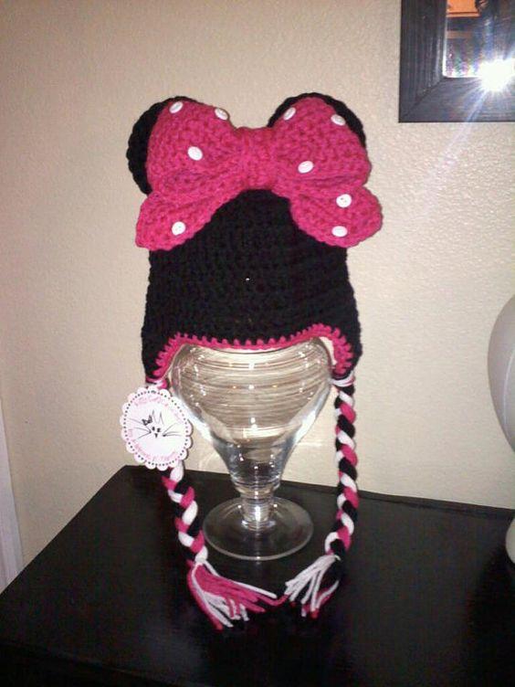Minnie Mouse Crochet Earflap hat by dkcu123 on Etsy, $23.00