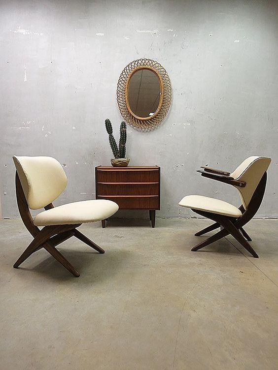 Mid century armchair lounge chairs Dutch design 'Pelican chair ...