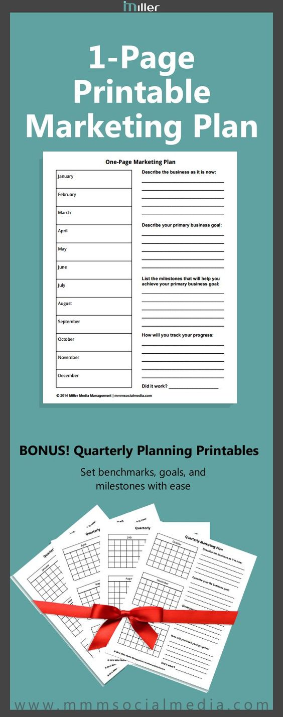 I love this! Just filled mine out and feeling ready to grow my business! A marketing plan doesn't have to be long and boring. Use this 1-page printable to set your marketing goals for the year. Bonus quarterly planners for mini goals and milestones.