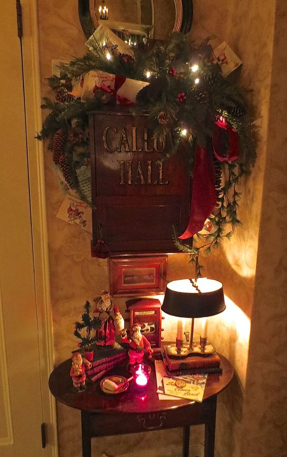 Entry table with antique English country house mailbox above.  All of my vintage memorabilia from Santa Claus Indiana is tucked in this area.  Letters to Santa...