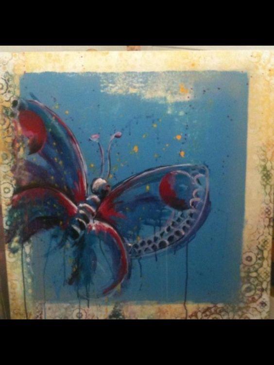 schilderij vlinder schilderijen pinterest