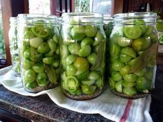 Pickled Green Cherry Tomatoes - Summer is Over, but there's lots of green cherry tomatoes left.