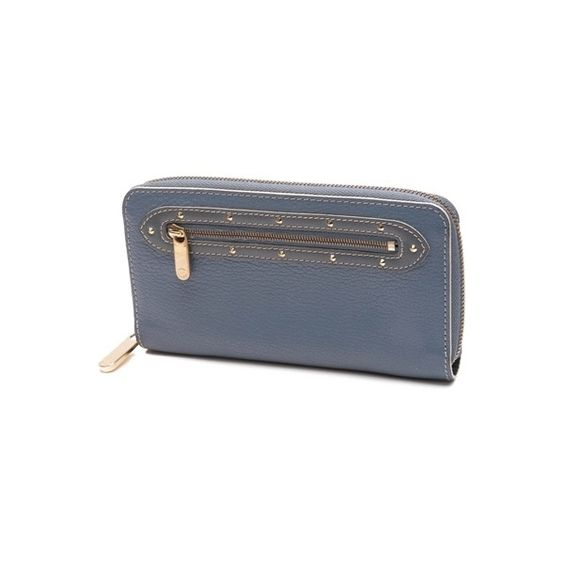 Pre-Owned Louis Vuitton Blue Suhali Leather Zippy Wallet ($300) ❤ liked on Polyvore featuring bags, wallets, blue, pocket wallet, leather zip around wallet, real leather bags, leather pocket wallet and louis vuitton wallet