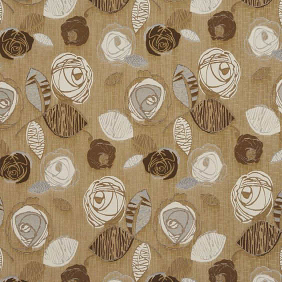 Sand Flower Bloom Beige and Brown Floral Damask Upholstery Fabric