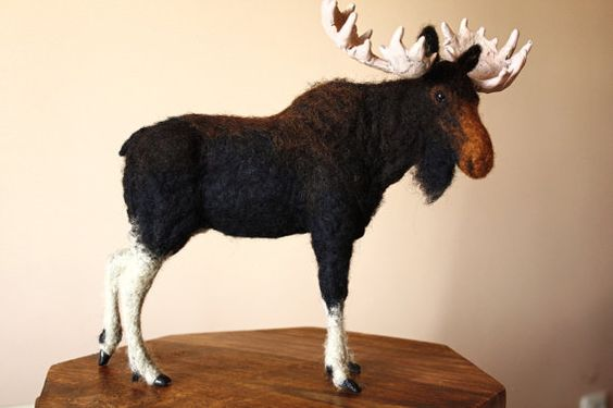 Big Moose, needle felting animal,Moose Felted sculpture  MADE TO ORDER.  This strong big male Moose belongs to my North American wildlife series.  He is 9,5 inches tall till antlers top.  No wire inside, as all my sculptures are; only I added some wire inside legs, to give him a strong standing and some poseability. Antlers has been carved by myself with soft velvet clay.  Registered mail worlwide shipping.  Minzoo NF 2016 all rights reserved.