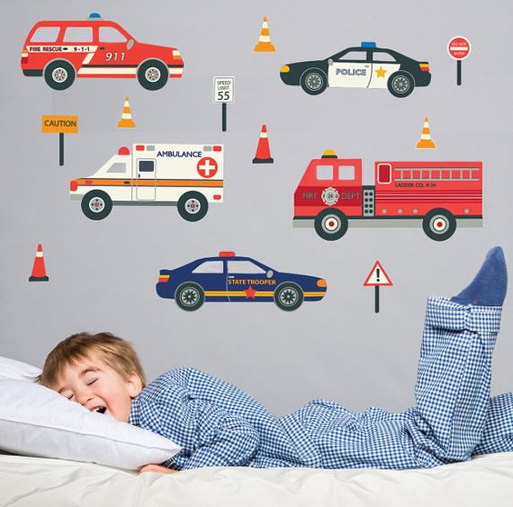 Emergency Vehicles Wall Decals, Removable and Reusable