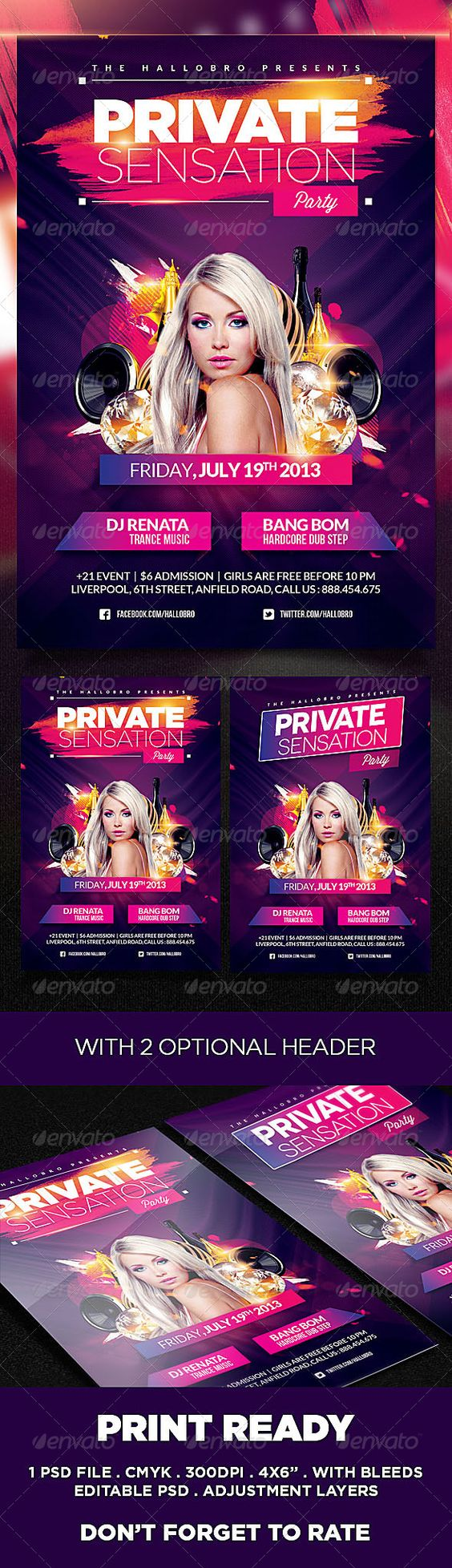 Sensation Party Flyer Poster Template | Party events, Poster and ...