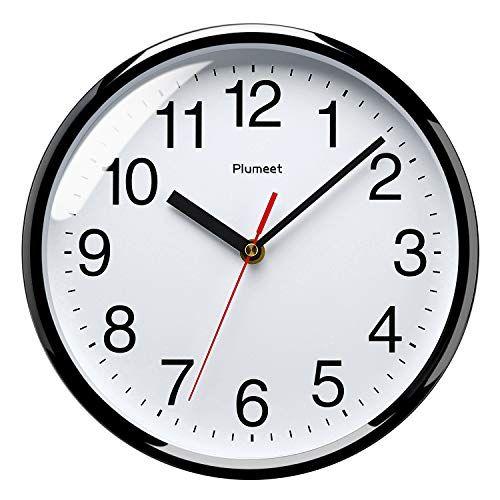 Plumeet Silent Wall Clock 10 Non Ticking Quartz Black Wall Clocks Decorative Home Office School Clock Med