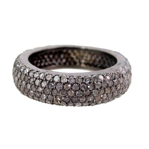 Natural Diamond Pave Eternity Band Ring 925 Sterling Silver Women Gift Jewelry