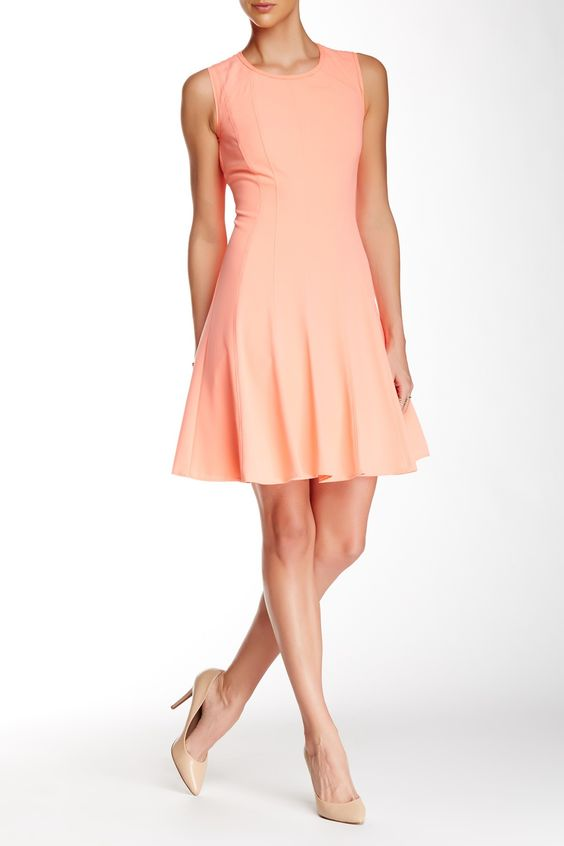 T Tahari Brooke Fit & Flare Dress 12 Sunbeam