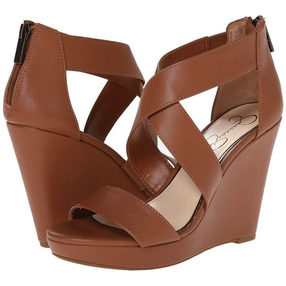 Jessica Simpson Jinxxi Women's Wedge Shoes, Brown ($31) ❤ liked on Polyvore featuring shoes, sandals, heels, brown, platform sandals, wedges shoes, brown shoes, wedge heel sandals and back zip sandals: