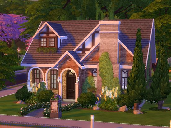 Built This Cute Little House To Fit A Medium Size Family It Has Three Bedrooms And Two Bathrooms Found In T Sims House Sims 4 House Design Sims House Design