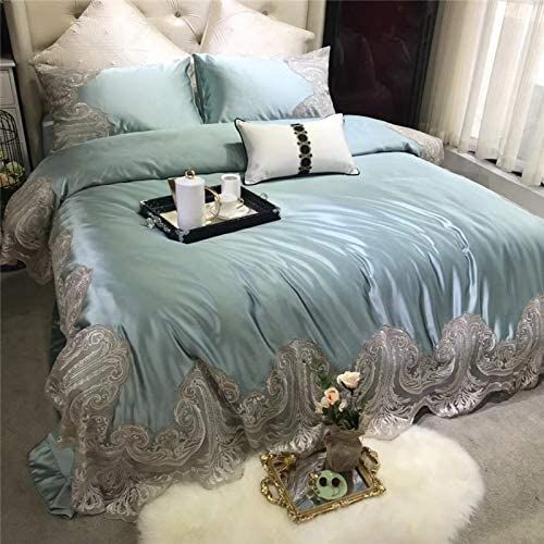 Champagne Luxury Romantic Lace Embroidery 100s Silk Cotton Wedding Bedding Set Duvet Cover Bed Luxurious Bedrooms Duvet Bedding Sets Grey Colour Scheme Bedroom