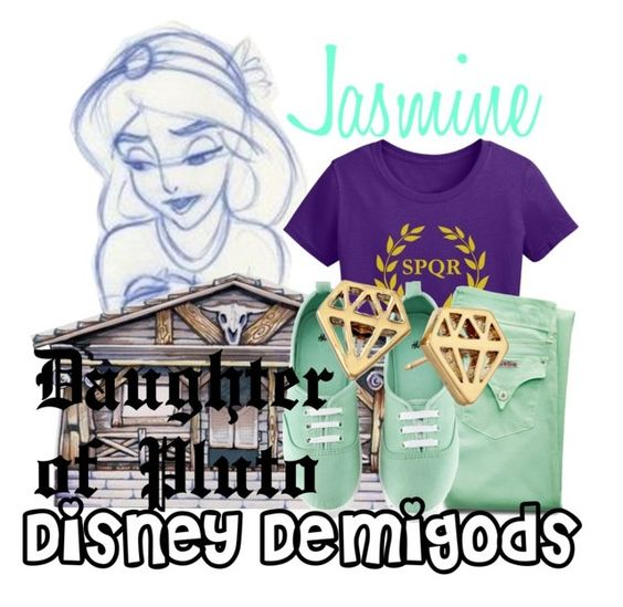 """""""Jasmine ~ Disney Demigods"""" by liesle ❤ liked on Polyvore featuring Disney, Hudson Jeans, H&M and Kate Spade"""