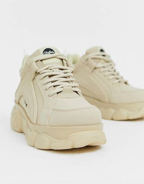 Buffalo Colby low platform chunky trainers in cream | Chunky