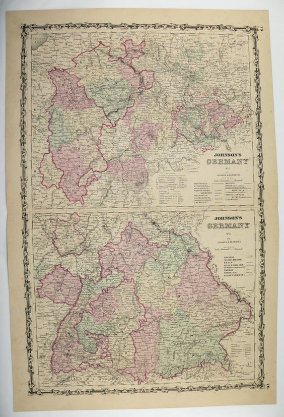 Original 1800s Germany Map 1861 Johnson Map Western Germany – Southern Germany Map