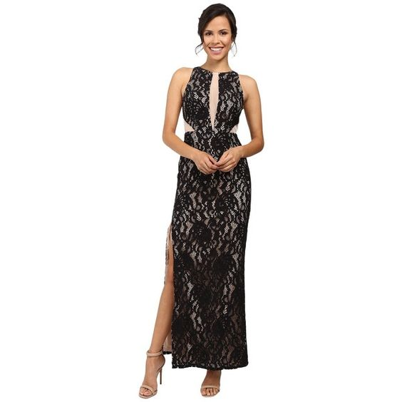 Aidan Mattox Long Stretch Lace Halter Gown w/ Illusion Detail... ($200) ❤ liked on Polyvore featuring dresses, gowns, aidan mattox gown, halter top, halter dress, long evening gowns and sleeveless long dress