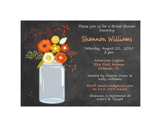 Chalkboard Mason Jar Wedding Shower by DigitalDesignsByDawn