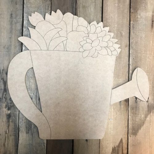 Succulent Watering Can Cutout Wood Shape Paint By Line Wood Cutouts Patriotic Door Hanger Wooden Cutouts