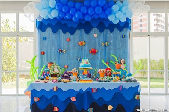 Under The Sea Party Table With Images Nemo Birthday Party