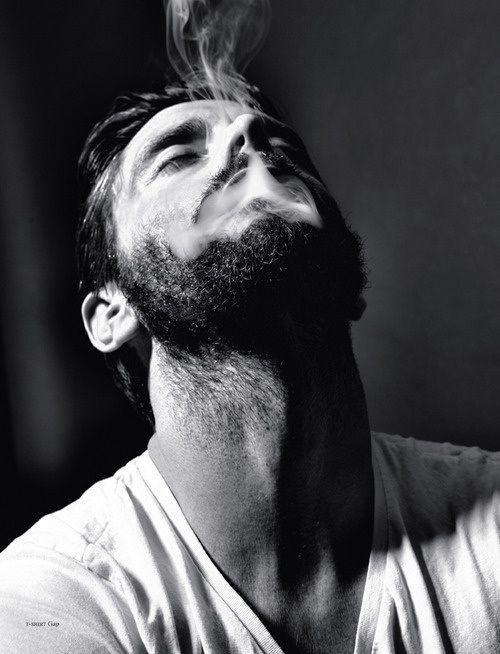 beard smoke fashion men tumblr style t shirt simple