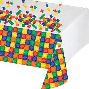 Een plastic tafelkleed bedrukt met bouwstenen. Met dit thema maak je ieder kind…