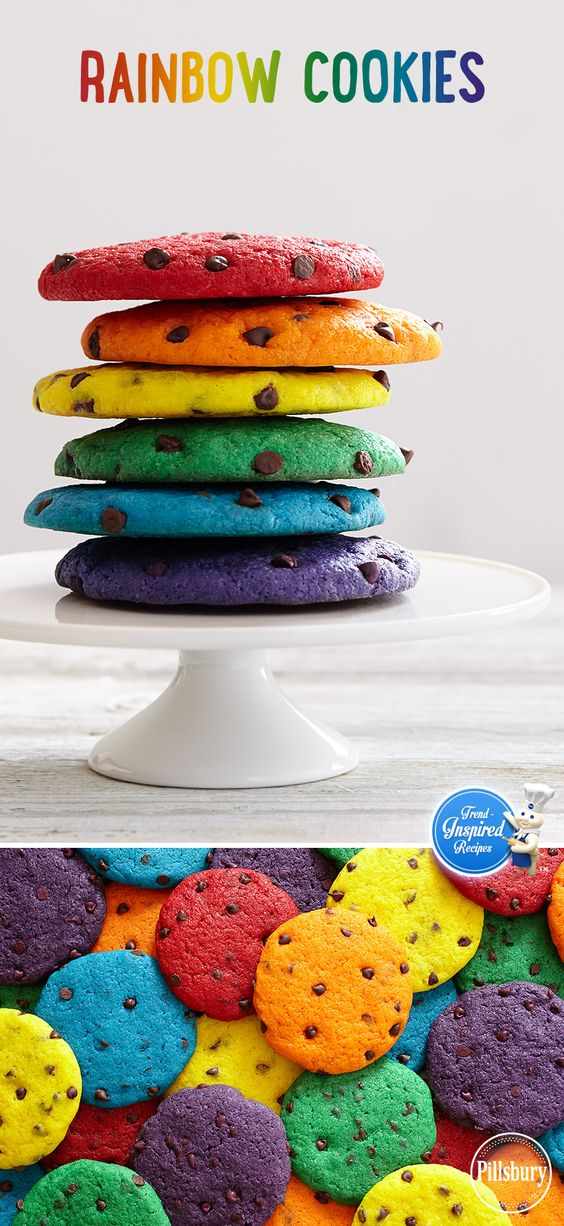 Bright, bold colors aren't just for your summer wardrobe. Try this trend with your next batch of chocolate chip cookies! Serve on a white platter to let the colors truly pop.: