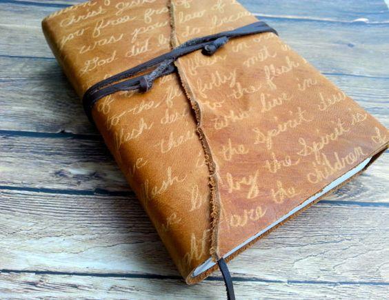 Leather Handwritten Cursive NIV Bible Compact by KatieReynoldsLane, $49.00