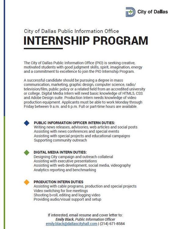 The City of Dallasu0027 Public Information Office is hiring - public information officer sample resume