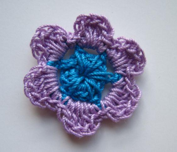 Crochet Flowers Mini - Purple Lavender and Aqua Turquoise - Set of 12. $3.80, via Etsy.