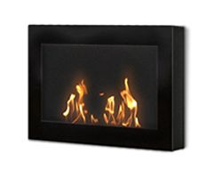 The clean, geometric, sophisticated design of the wall mount SoHo model in black is a stunning addition to any room. It works with any décor. The warm glow created by the dancing flames of the fire will create atmosphere anywhere you wish to hang it – living room, bedroom, family room, dining room, anywhere…. Very easy to install on any wall and mounting hardware is included.