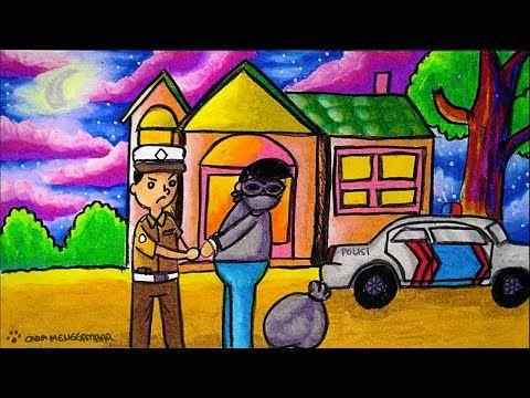 Cara Menggambar Dan Mewarnai Tema Polisi Menangkap Penjahat Pencuri Yang Bagus Dan Mudah Ep 200 Youtube Cara Menggambar Gambar Warna