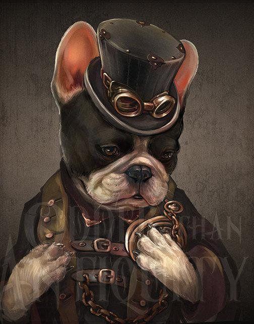 Thoreau The Pied French Bulldog Art Gentleman Victorian Steampunk