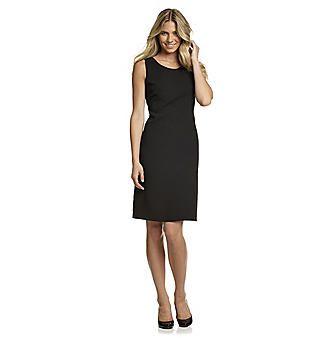 Kasper® Black Crepe Scoopneck Sheath Dress