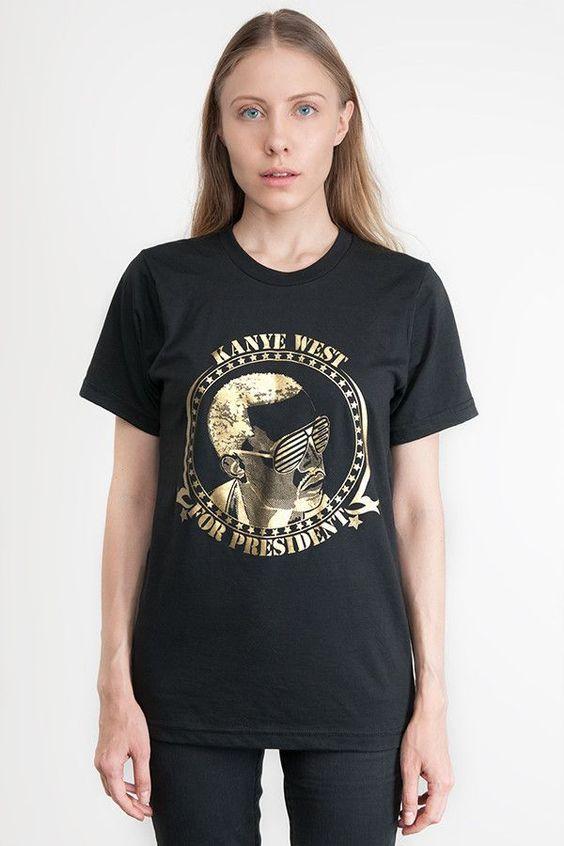 Kanye West For President T-Shirt – Gold on Black
