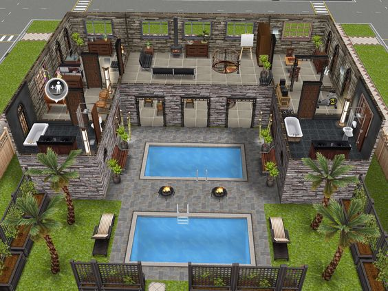 Variation of an awesome house i saw on pinterest level 2 - Awesome sims ...