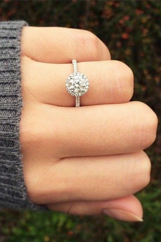 14k White Gold Pave Halo And Shank Diamond Engagement Ring Round