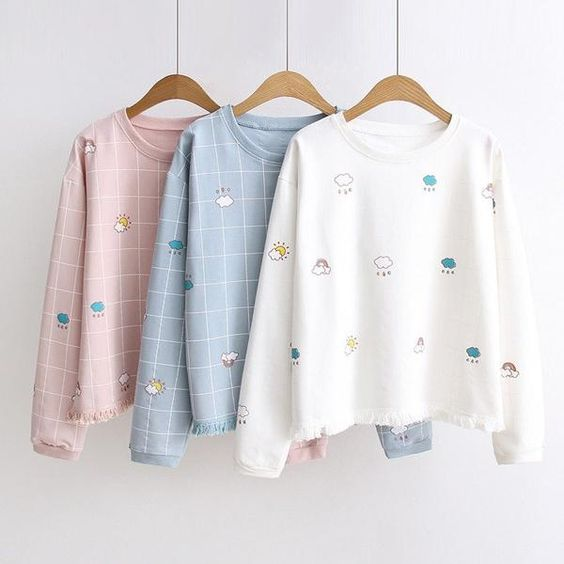 White/Pink/Blue Kawaii Sweatshirt KW179023 – kawaiimoristore