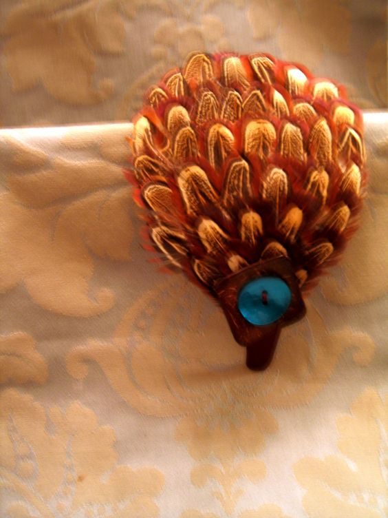 Brown Satin Headband with Plume of Pheasant Feathers. Custom ordered with Turquoise Button. $19.95