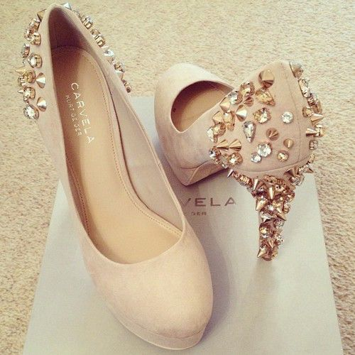 Nude crystal studded high heels bling studded heels www